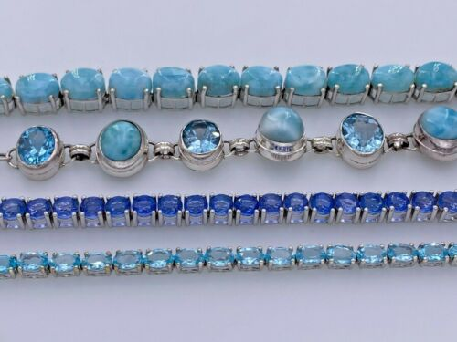 SHOPHQ GEM TREASURES STERLING SILVER 925 BLUE MULTI-STONE TENNIS BRACELETS LOT