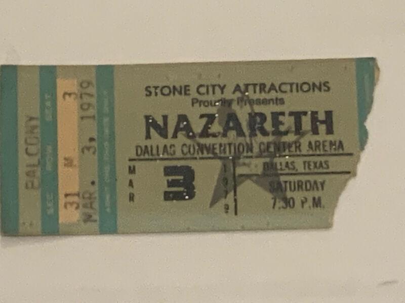 1979 Nazareth Original Concert Ticket Sub Dallas Convention Center Area March, 3