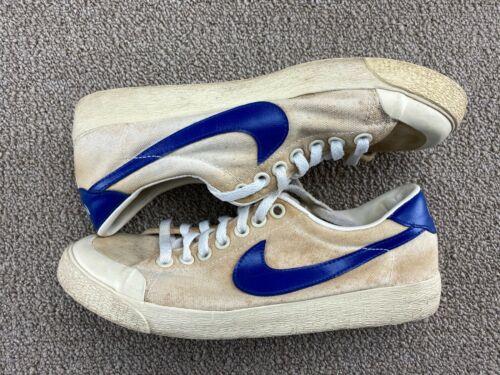 1982 Nike Bruin Shoes 8 Canvas Tennis Shoes Blue White Leather shirt 80s VTG