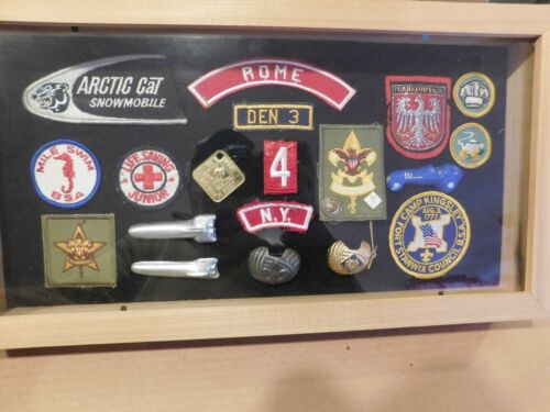 VINTAGE SHADOW BOX WITH BOY SCOUT PATCHES,PINS,SLIDES