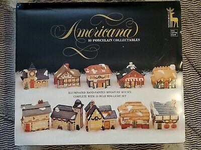 Santas Best Americana Porcelain Christmas Village Collectibles 10 Pc with (Best Collectible Christmas Village)
