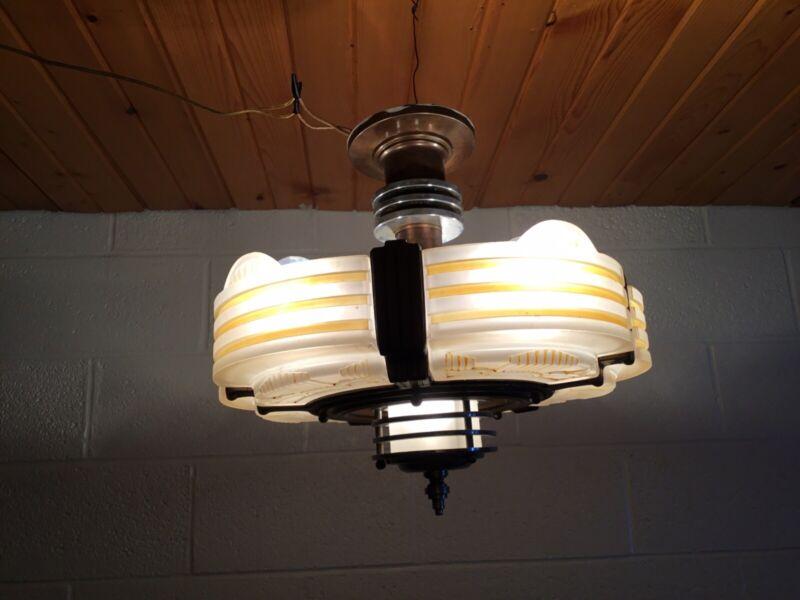 ANTIQUE AUTHENTIC ART DECO 5 LIGHT CEILING FIXTURE CHANDELIER BRASS? BEAUTY!