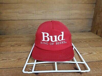 Vintage 80s Bud King Of Beers Red Trucker Hat Mesh Snapback