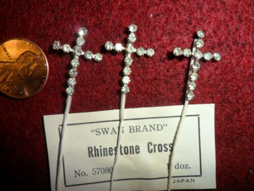 . Vintage Clear/diamond color Rhinestone Crosses on a wire