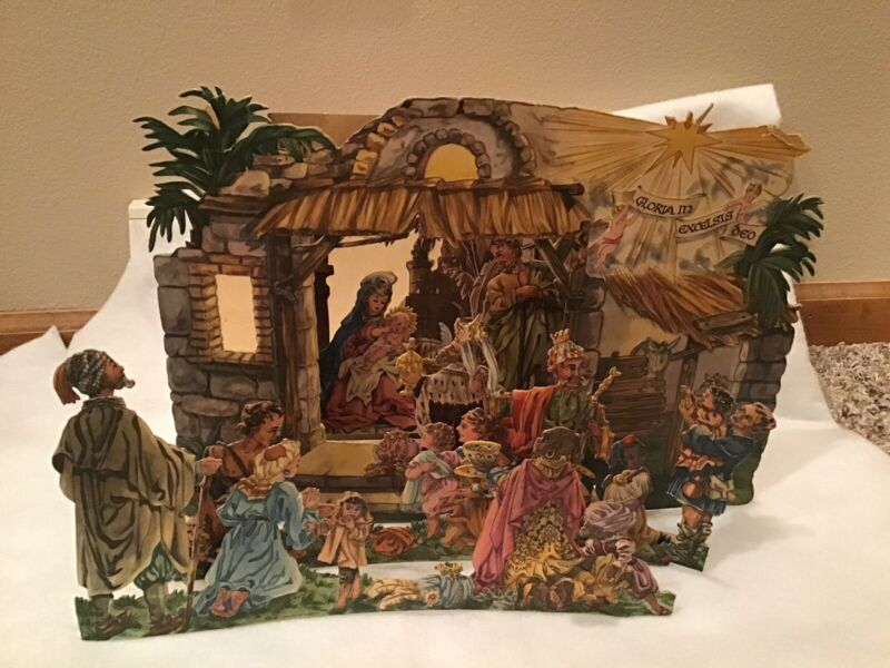 Vintage Pop-up Paper Creche Nativity Scene Printed In W. Germany