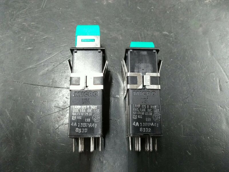 (Lot of 2) Honeywell Micro USA Green Maintained Pushbutton Switch 1NC/1NO 250VAC