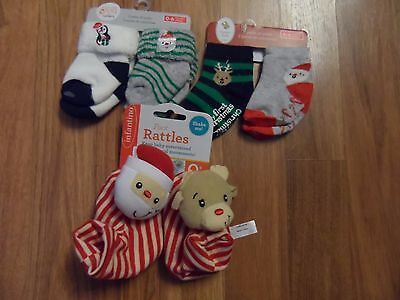 lot boys 0 - 6 months My First Christmas socks by Carter's & foot rattles