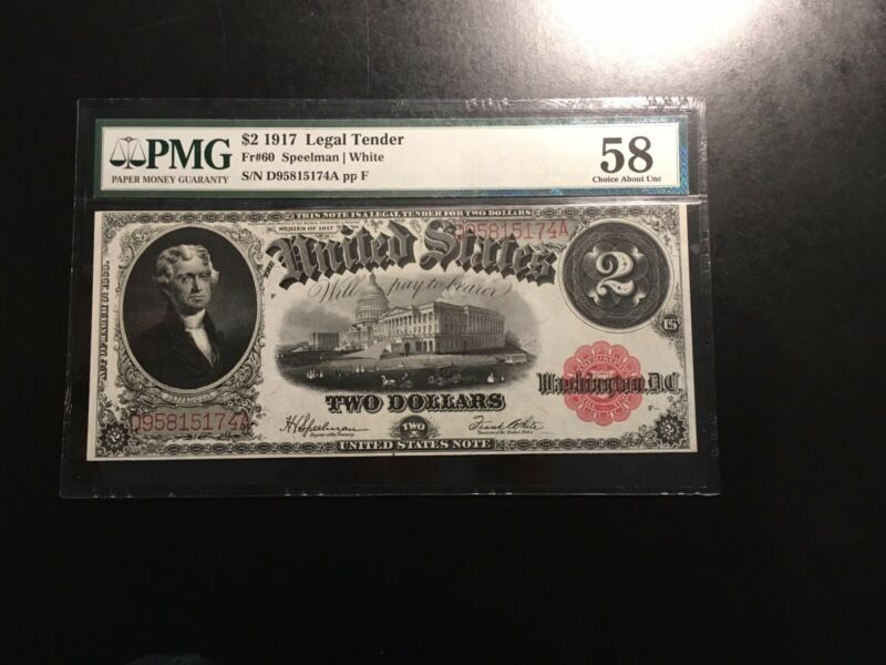 Large Currency Fr60 2.00 1917 PMG 58 Au White Bright Looks Uncirculated