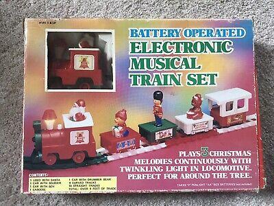 Vintage Electronic Musical Train Set Christmas Holiday 1987 Santa, Teddy Twinkle