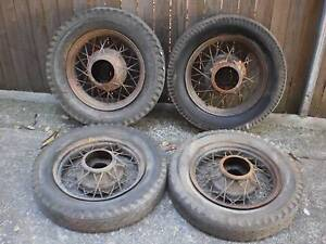 "VINTAGE FORD 1932 WHEEL SET 4 X 18"" INCH FORD WIRE WHEELS N TYRES Leichhardt Leichhardt Area Preview"