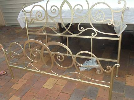 Queen Slat Bed-Oriental Gilt Wrought Iron Bedhead  bed foot $150 Kenmore Brisbane North West Preview
