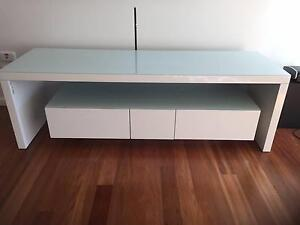 Used White laminate and Glass top TV Cabinet Malabar Eastern Suburbs Preview