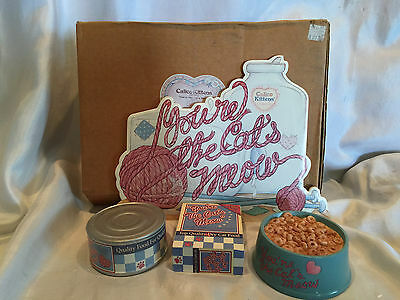 1997 Calico Kittens Enesco You're The Cats Meow Cat Food Set Can Box Bowl 296902