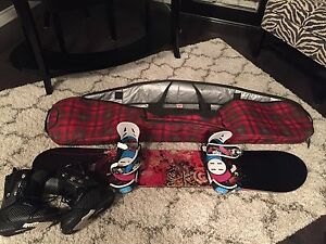 Snowboard, boots, bindings and bag- will sell stuff separately