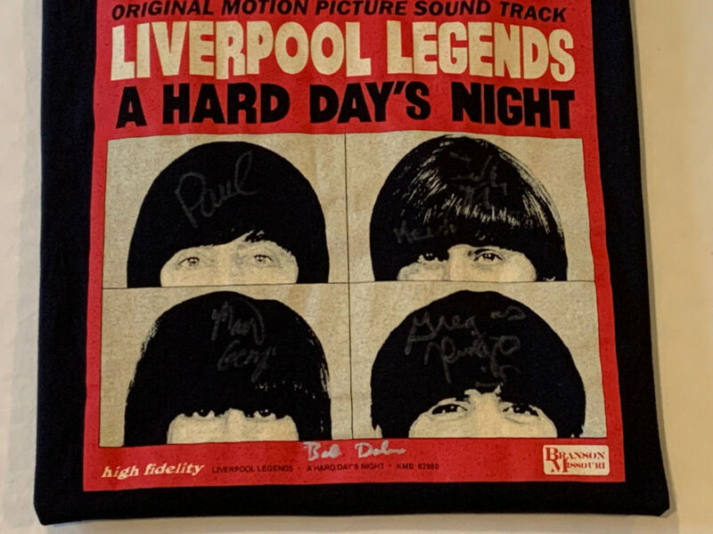 The Beatles A Hard Days Night Black T-Shirt Signed Autographed XL Band Concert