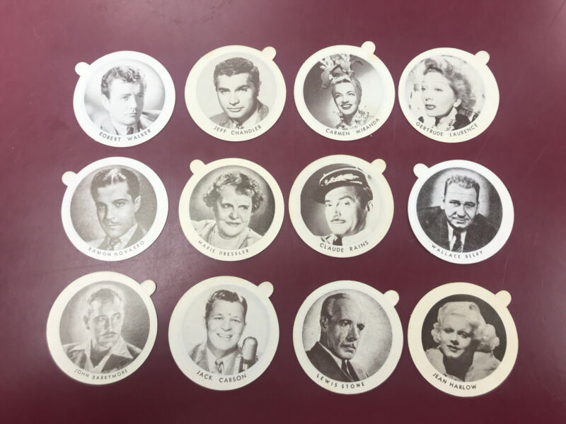 Dixie Dainty Cup Ice Cream Lids Lot of 12 Different movie stars.Unused