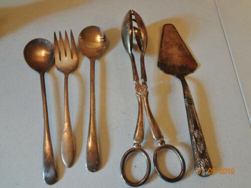 Assorted Vintage Silver Plate Serving Utensils - Estate Bundle Lot