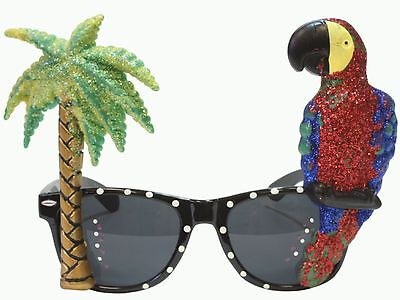 Glitter Novelty Parrot and Palm Tree Sunglasses Costume Tropical Beach Red - Palm Tree Sunglasses