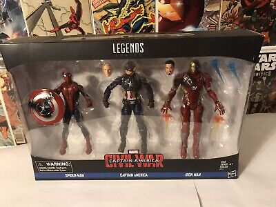 2016 Marvel Legends Civil War Captain America Iron Man Spider-Man 3-pack Sealed