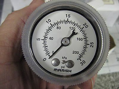 New Marsh Pressure Gauge 2 Face 0-30 Psi 14 Npt Back Connection J1842