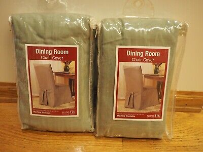 Sure Fit Linen Cotton Duck Dining Room Chair Slipcover pair