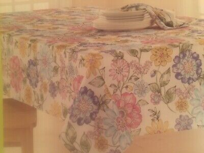 60x84 Fabric Tablecloth - Celebrate Spring Together Big Flower Floral Print 60x84 Obl Fabric Tablecloth