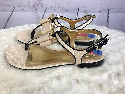 NEW Isaac Mizrahi New York  7.5 BREE2 Textured Sandals Bow Patent Trim T-strap