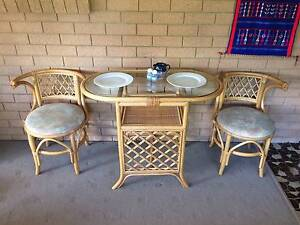 3piece Cane bamboo 'Honeymoon suite' set dining Table & 2 chairs Long Jetty Wyong Area Preview