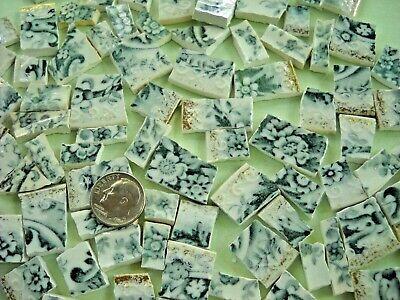 Teal Floral Transferware - Broken China Mosaic ~ 95 Tiny Tiles