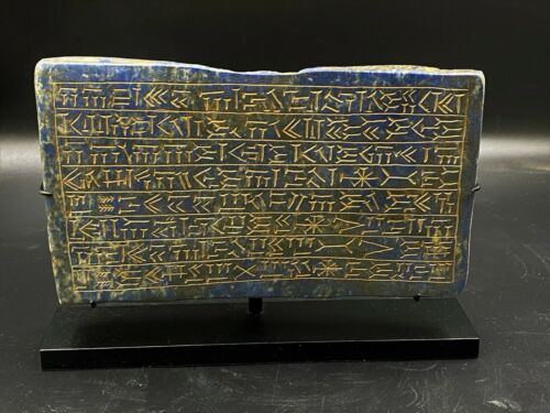 Old Ancient Antique Lapis Book Plaque Engraved With Text Inscription Writing