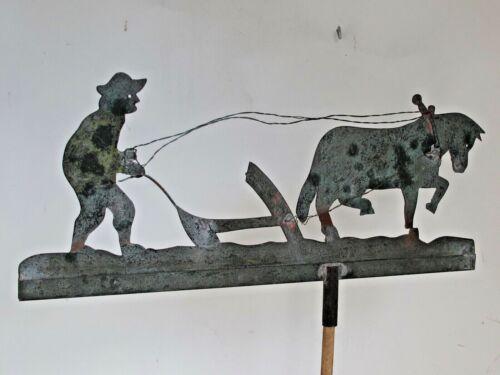 Antique Folk Art Sheet Copper Farmer, Plow and Horse Weather Vane