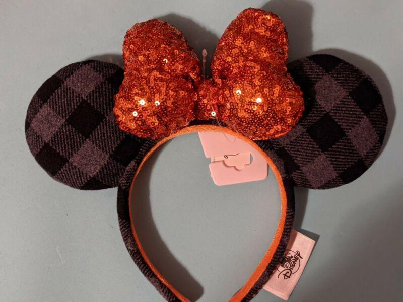 Disney Parks Halloween 2021 Plaid with Orange Sequin Bow Ears Headband New