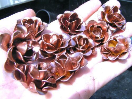 10 Copper color Roses, metal flowers, crafts, jewelry, embellishments, accents
