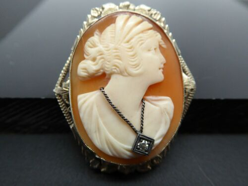 Art Deco 14KT WG Filigree Diamond Necklace  Shell Woman Cameo Brooch Necklace