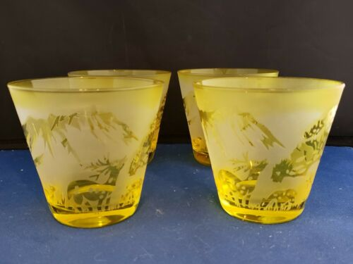 """Yellow Drinking Glass Cup set of 4 Engraved Etched  3""""h"""