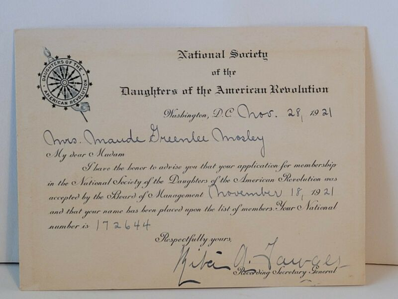 Antique Daughters Of The American Revolution Membership Card 1921