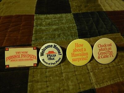 """'80s Pizza Hut ~ LOT of 4 ~ Employee BUTTONS_PINS ~ """"Welcome Home!"""" Cable TV Vtg"""