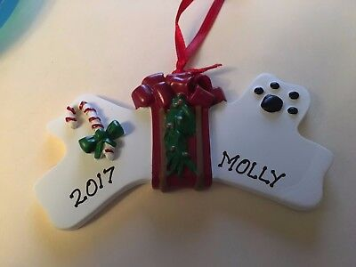 - Christmas Dog Bone Personalized Christmas Tree Ornament Holiday Gift