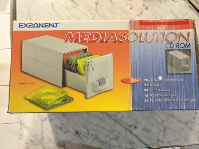 "NOS Vintage Exponent 3.5"" Floppy Zip Disk CD-ROM Media Solution Storage Case NEW"