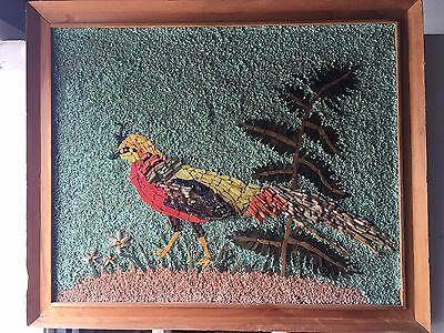 Mid Century Modern Mosaic Italian Glass Tile Gravel Pheasant Bird Aviary Garden