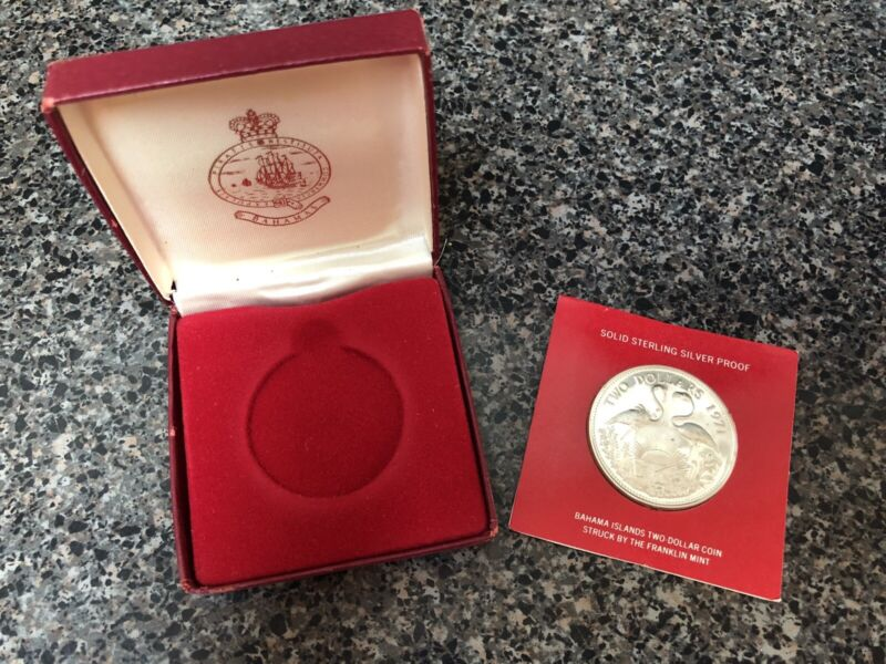 1971 BAHAMA ISLANDS TWO-DOLLAR STERLING SILVER PROOF COIN + BOX