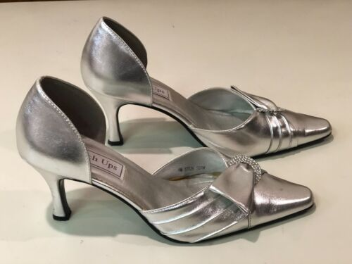 Touch Ups Silver High Heel Dressy Pumps Shoes - Size 8M