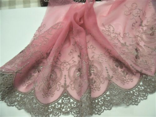 """EMBROIDERED SOFT NETTING~VICTORIAN LOOK~TAUPE/DUSTY PINK~7"""" x 36""""~DOLL"""