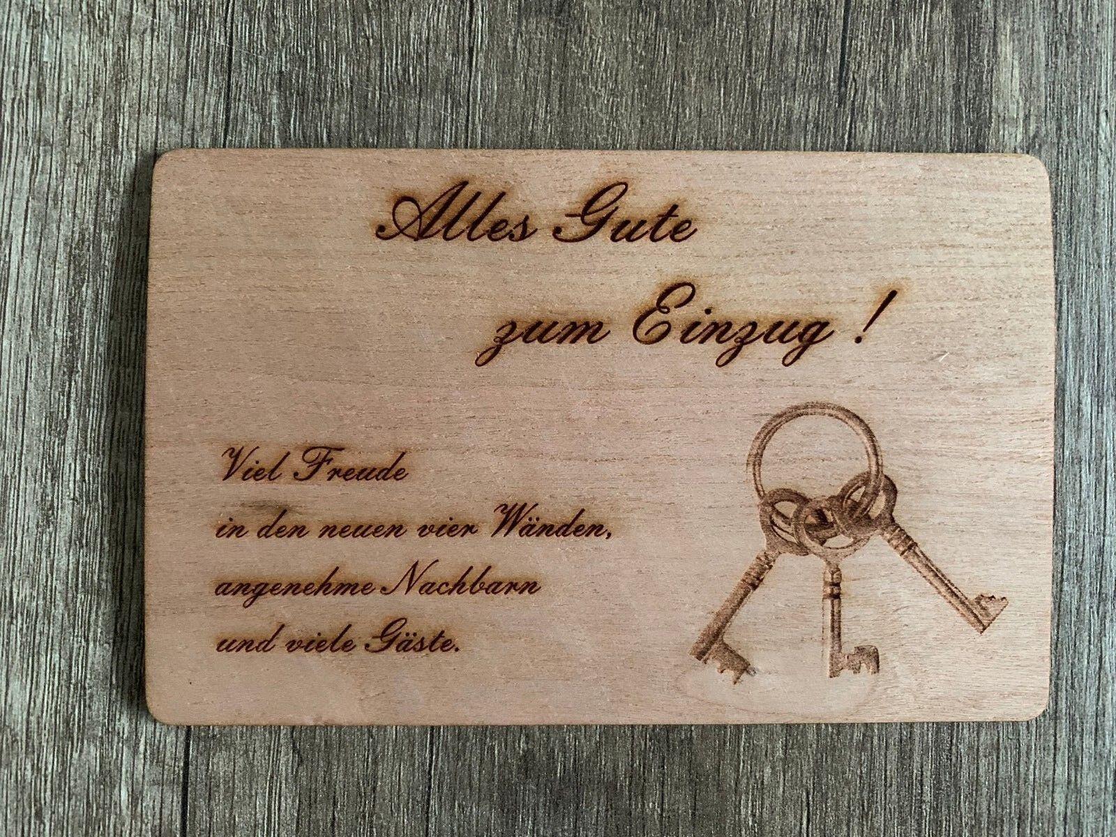Grußkarte Aus Holz Geschenk Karte Geschenkkarte Einzug Heim Haus Umzug Schlüssel Ebay