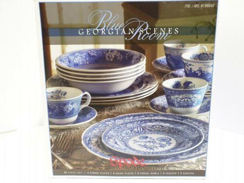 Rare Spode Blue Room Georgian Scenes 20-Pieces Dinnerware Set