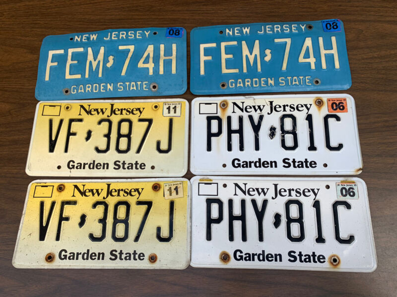 Vintage NJ New Jersey Historic License White And Baby Blue.  6 Plates Lot.
