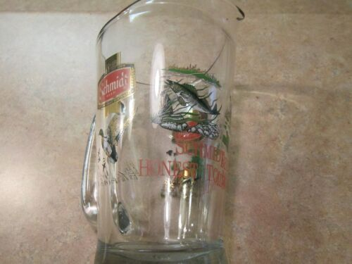 VINTAGE SCHMIDT BEER PITCHER HONEST TO MINNESOTA DEER, WALLEYE,MALLARD, BASS 60O