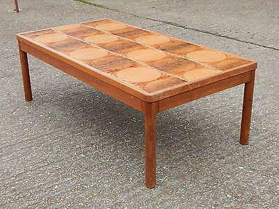 Mid century Trioh retro tile top rectangular coffee table vintage Made Denmark