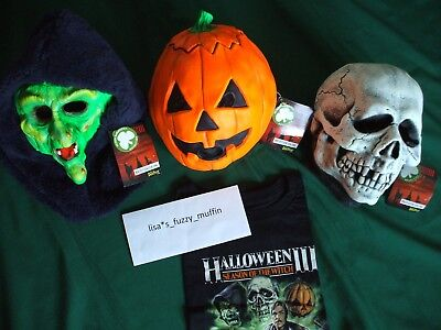 HalloweeN III 3 Season of the Witch MASKS w/tags Don Post Silver Shamrock ☘️🎃💀 - Silver Shamrock Halloween Mask