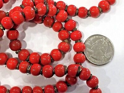 BEAUTIFUL ANTIQUE 18thC CHINESE TIBET H/MADE RED ART GLASS NECKLAS CORAL COLOR
